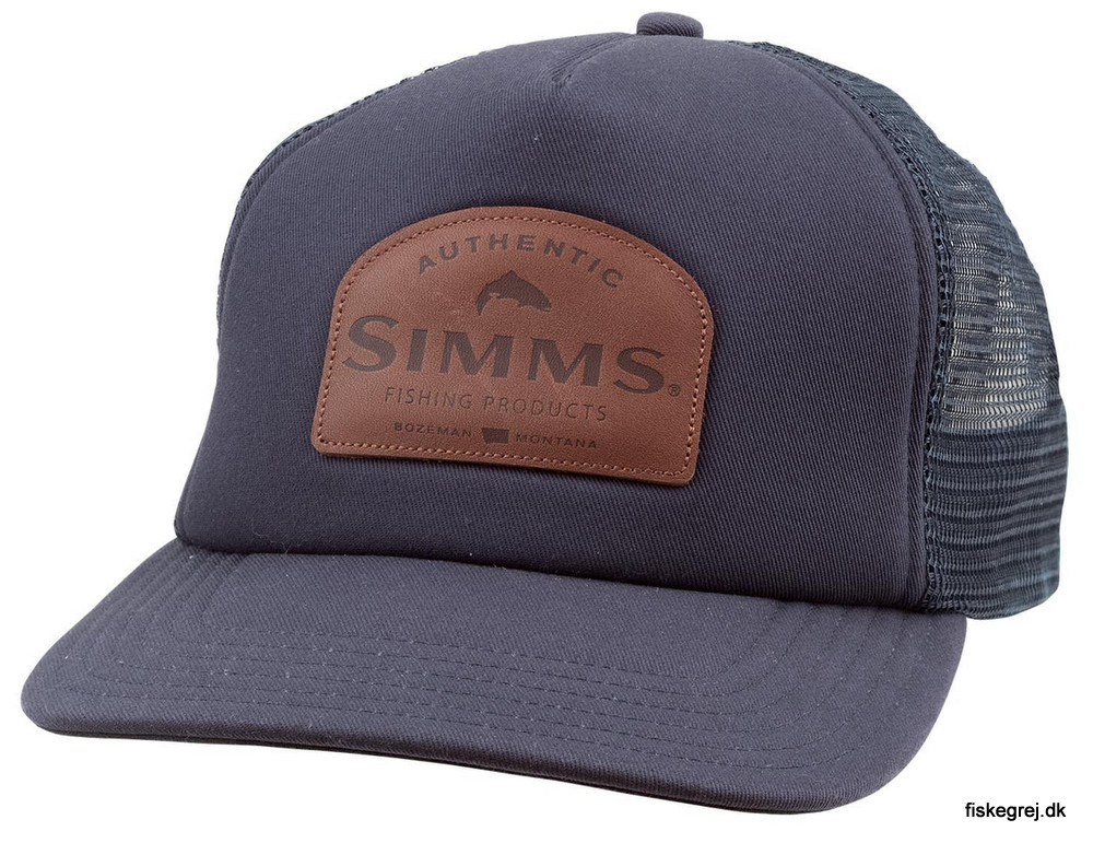 Image of   Simms Leather Patch Trucker Admiral Blue Cap