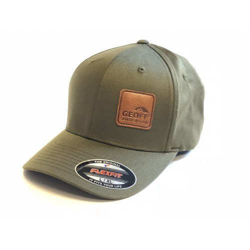 Image of   Geoff Anderson Flexfit Olive Leather Cap