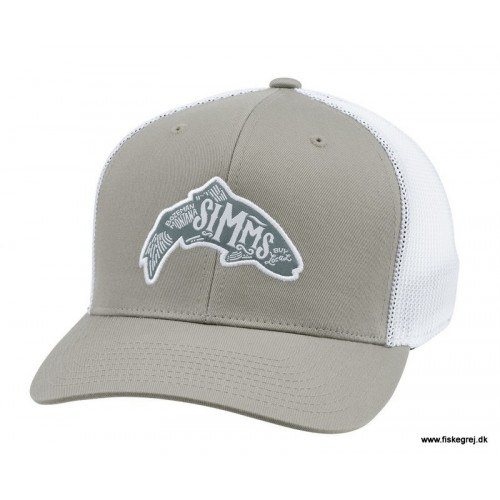 Image of   Simms Flexfit Trucker Woodblock Trout Coffee