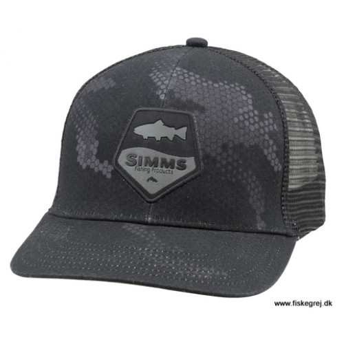 Image of   Simms Trout Patch Trucker Hex Camo Carbon