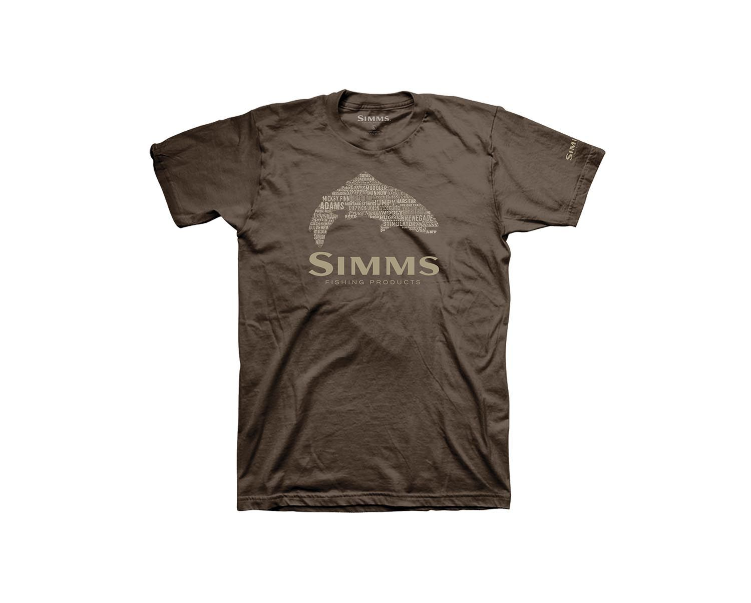 Image of   Simms Stacked Typo Logo T-Shirt Brun